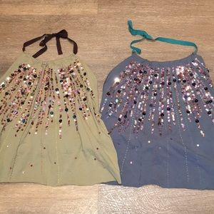 Tops - Two Sexy Glittery Backless Blue & Green Cami Tops